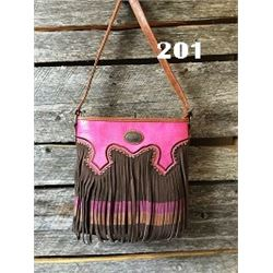 "10""x10""x3"" COFFEE BROWN/PINK-FRINGE WESTERN MESSENGER PURSE"