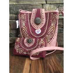 "10""x10""x3"" RASPBERRY PINK/LIGHT PINK-WESTERN MESSENGER PURSE AND MATCHING TRIFOLD WALLET"