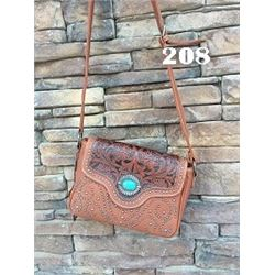 "10""X8""X3 TAN/TOOLE/TURQUOISE STONE-WESTERN MESSENGER PURSE"