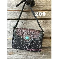 "10""X8""X3 COFFEE BROWN/TOOLED/TURQUOISE STONE-WESTERN MESSENGER PURSE"