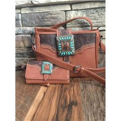 "11""X8.5""X3.5"" TAN/SQUARE WESTERN BUCKLE-WESTERN MESSENGER PURSE"