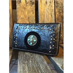 "5""x8"" BLACK/TOOLED ZIPPERED WESTERN WALLET-DETACHABLE STRAP/INNER AND OUT ZIP COMPARTMENTS/CREDIT CA"