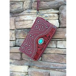 "5""x8"" RED /TOOLED/TURQUOISE ZIPPERED WESTERN WALLET-DETACHABLE STRAP/INNER AND OUT ZIP COMPARTMENTS/"