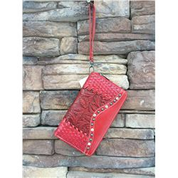 "5""x8"" RED /TOOLED ZIPPERED WESTERN WALLET-DETACHABLE STRAP/INNER AND OUT ZIP COMPARTMENTS/CREDIT CAR"
