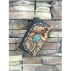 "5""x8"" BROWN PAISLEY/TOOLED ZIPPERED WESTERN WALLET-DETACHABLE STRAP/INNER AND OUT ZIP COMPARTMENTS/C"