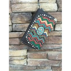 "5""x8"" COFFEE BROWN/AZTEC DESIGN ZIPPERED WESTERN WALLET-DETACHABLE STRAP/INNER AND OUT ZIP COMPARTME"