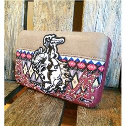 "5""x8"" BURGANDY/BRONC DESIGN DESIGN CLASP CLOSURE WESTERN WALLET-INNER AND OUT ZIP COMPARTMENTS/CREDI"