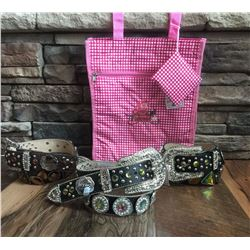 GROUP OF 3 WESTERN BLING BELTS PLUS A COWGIRL FINESS TOTE BAG*BELT MAY HAVE DEFECTS IN SOME STONES B