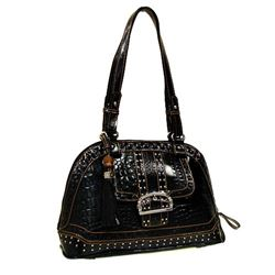 "M.C. BRAND BLACK LEATHER HANDBAG/DOUBLE STRAPS/INNER AND OUT ZIPPER COMPARTMENTS/16""X10""X4"""