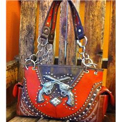 WESTERN BURNT ORANGE DOUBLE PISTOL PURSE/DOUBLE CHAIN STRAPS/INNER AND OUTER ZIPPER COMPARTMENTS/13""