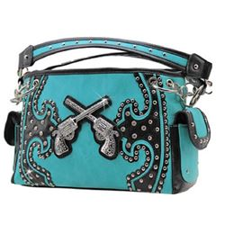 WESTERN TEAL AND BLACK DOUBLE PISTOL PURSE/DOUBLE CHAIN STRAPS/ INNER AND OUTER ZIPPER COMPARTMENTS/