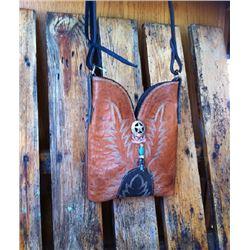 "UNIQUE ONE OF A KIND!! WESTERN LEATHER BOOT PURSE/LEATHER STRAP/APPROX 9""X6"""