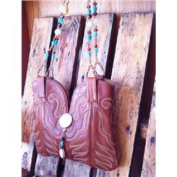 UNIQUE ONE OF A KIND!! WESTERN LEATHER BOOT PURSE/BEADED STRAPS