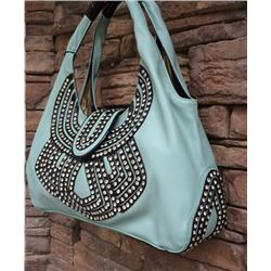 SOFT MINT GREEN WITH BLACK TRIM/BLING ACCENT/SNAP CLOSURE-LARGE HANBAG