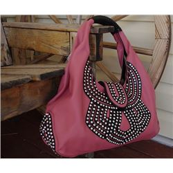 DEEP ROSE WITH BLACK TRIM/BLING ACCENT/SNAP CLOSURE-LARGE HANDBAG