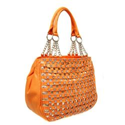"ORANGE FASHION BLING HANDBAG/INNER AND OUTER ZIPPER COMPARTMENTS/DOUBLE STRAPS/12""X11'X5"""