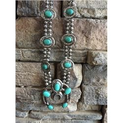 "WESTERN TURQUOISE SQUASH BLOSSOM NECKLACE/13""LONG"