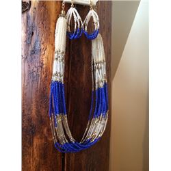 CREAM/BRONZE/ROYAL BLUE BEADED MULTI STRAND NECKLACE AND MATCHING EARRINGS