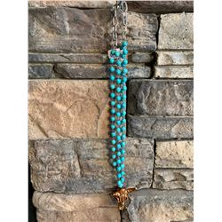 "TURQUOISE BEADED NECKLACE WITH STEER HEAD PENDANT/12"" LONG/SILVER CHAIN/CLASP CLOSURE"