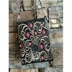 "BLACK CELL PHONE PURSE/PINK FLORAL DESIGNS/8""X6""/SINGLE STRAP/CELL PHONE POCKET ON BACK WITH MAGNETI"