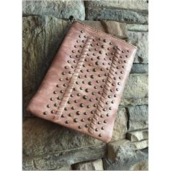 "SOFT VINTAGE ROSE PINK CELL PHONE PURSE/PEWTER STUDDED DESIGN/8""X6""/SINGLE STRAP/CELL PHONE POCKET O"
