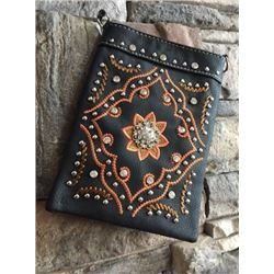 "BLACK CELL PHONE PURSE/BURNT ORANGE FLORAL CONCHO DESIGN/8""X6""/SINGLE STRAP/CELL PHONE POCKET ON BAC"
