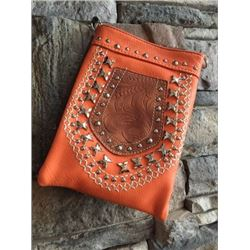 "ORANGE CELL PHONE PURSE/TOOLED POCKET/STUDDED DESIGN/8""X6""/SINGLE STRAP/CELL PHONE POCKET ON BACK WI"