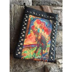 "BLACK CELL PHONE PURSE/TOOLED POCKET/ARTIST JOANNE GRAND BUCKING HORSE DESIGN/8""X6""/SINGLE STRAP/CEL"