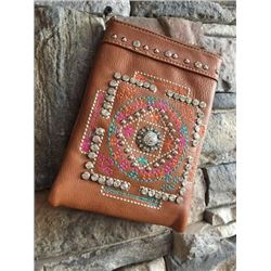 "DARK BROWN CELL PHONE PURSE/ORANGE TURQ PINK STITCHING CONCHO DESIGNS/8""X6""/SINGLE STRAP/CELL PHONE"