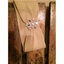 BEIGE HEAD BAND WITH BLING FLOWER ACCENT