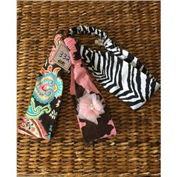 GROUP OF THREE HEADBANDS/ZEBRA, PINK COW PRINT,BLUE PAISLEY PRINTS/STRETCH BACK BAND