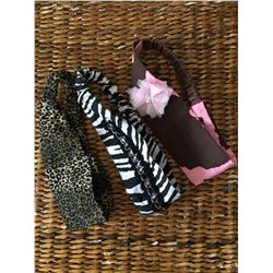 GROUP OF THREE HEADBANDS/ZEBRA, PINK COW PRINT,LEOPARD PRINTS/STRETCH BACK BAND