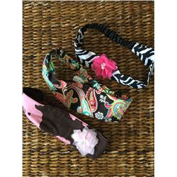 GROUP OF THREE HEADBANDS/ZEBRA, BLUE PAISLEY,LEOPARD,PINK COW/STRETCH BACK