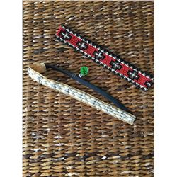 GROUP OF 2/ PEARL BEADED HEAD/HAT BAND, MULTI RED,BROWN AND BLACK BEADED HAT/HEADBAND