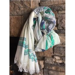 WHITE/MINT/BLUE NAVAHO DESIGN INFINITY SCARF
