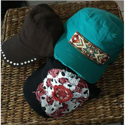 GROUP OF 3 HATS/TURQ BEADED CADET HAT,RED BLING BASEBALL CAP,BLACK PEACE CADET HAT/ALL HAVE ADJUSTAB