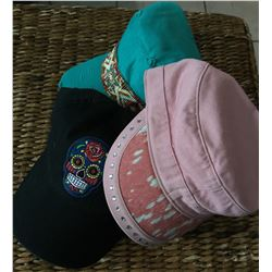 GROUP OF 3 HATS/TURQ BEADED CADET HAT,BLACK SUGAR SKULL BASEBALL CAP,PINK HAIR ON HIDE BHW CADET HAT
