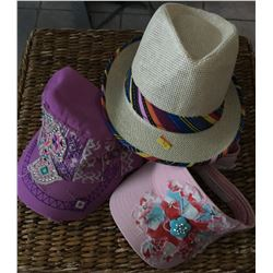 GROUP OF 3 HATS/ STRAW HAT WITH RED STRIPE BAND, PINK SUN VISOR WITH TURQ BLING,PINK CADET HAT WITH