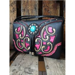 BLACK/PINK SCROLLING/TURQUOISE STONE MESSENGER WALLET-INSIDE AND OUTSIDE HAS ZIPPER COMPARTMENTS, CR