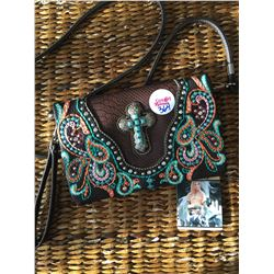 BROWN/TEAL MULTI COLOR STITCHING/CROSS CONCHO MESSENGER WALLET-INSIDE AND OUTSIDE HAS ZIPPER COMPART
