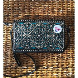TEAL/BLACK SCROLLED DESIGN MESSENGER WALLET-INSIDE AND OUTSIDE HAS ZIPPER COMPARTMENTS, CREDIT/CARD