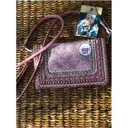 PINK TOOLED MESSENGER WALLET-INNER AND OUTER ZIPPER COMPARTMENTS,CREDIT CARD AREA, SINGLE STRAP, WRI