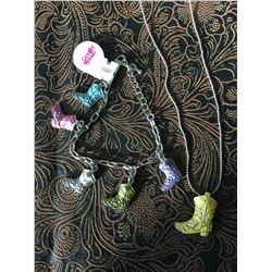 PASTEL COWBOY BOOT NECKLACE AND BRACELET/NICKEL FREE