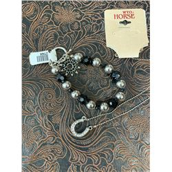 CLEAR STONE HORSE SHOE NECKLACE AND BLACK CRYSTAL SPUR ROWEL CHARM BRACELET/NICKEL FREE