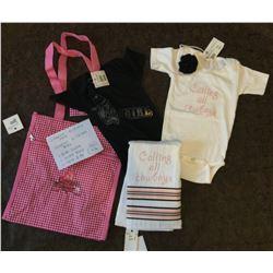GROUP OF 5 BABY ITEMS/ 1-WHITE BURP CLOTH,1-BLACK 6/12 MOS ONSIE, 1-WHITE 6/12 MOS ONSIE, 1-HEAD BAN