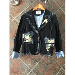COWGIRL TUFF JACKET/BLAZER -DARK NAVY BLUE WITH CREAM ROSE EMBROIDERY AND BLUE STITCHING-SIZE XL