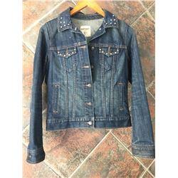 CUSTON MADE JEAN/LEATHER JEAN JACKET-SIZE SMALL-DOUBLE PISTOL HAIR ON HIDE DESIGN ON BACK-CRYSTAL ST