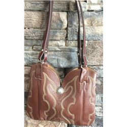 CUSTOM LEATHER COWBOY BOOT PURSE, DOUBLE STRAPS, ONE OF A KIND