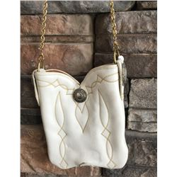 WHITE LEATHER CUSTOM COWBOY BOOT PURSE , SINGLE GOLD CHAIN STRAP, ONE OF A KIND