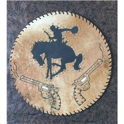 CUSTOM LEATHER ROPE CAN LID, PISTOL BRONC DESIGN,THICK STURDY LEATHER, WOULD MAKE A GREAT WESTERN CL